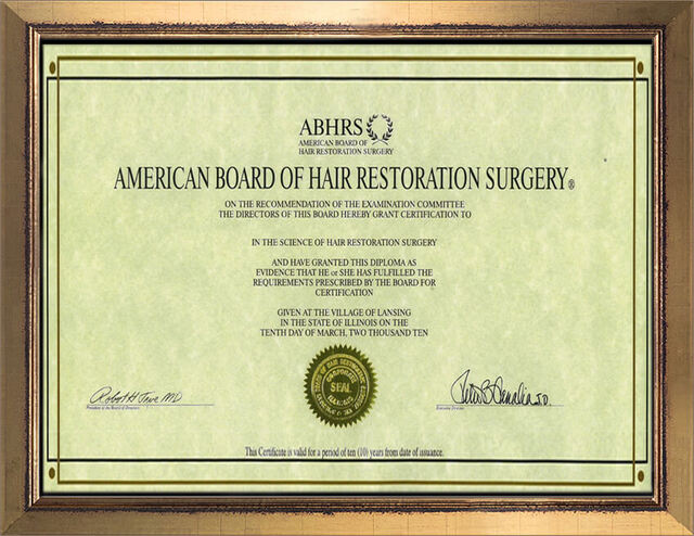 Diplomate, American Board of Hair Restoration Surgery